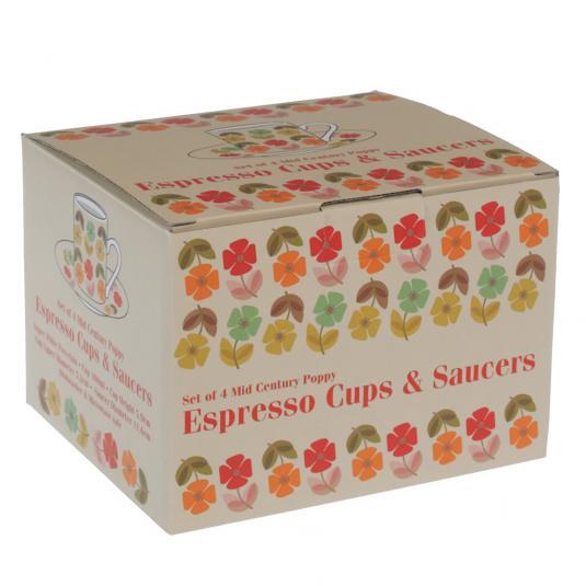 Mid Century Poppy Espresso Set in a Gift Box