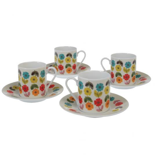 Retro Floral Espresso Cups And Saucers