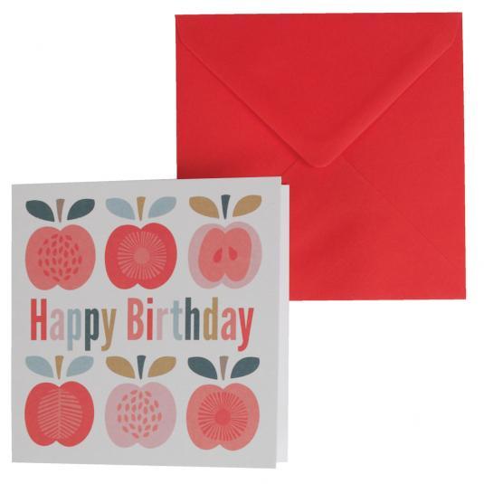 Folkart Red Apple Print Birthday Card