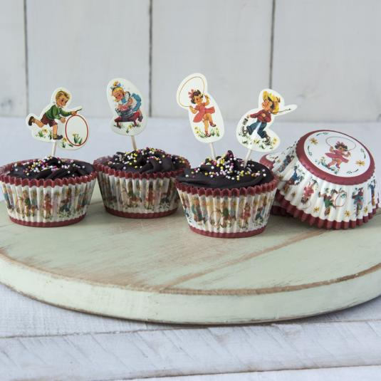 Vintage Kids Cupcake Cases and Toppers