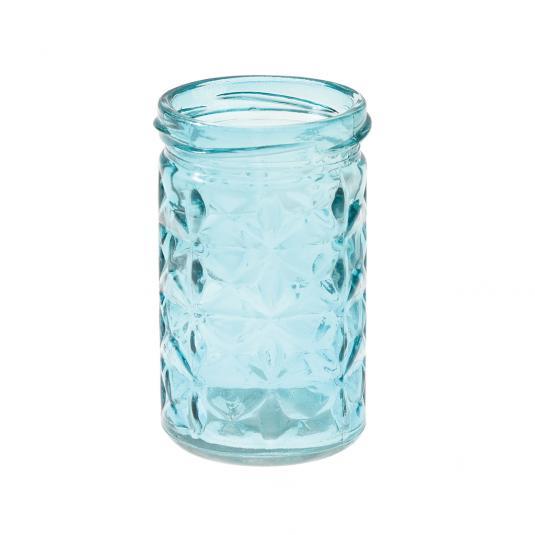 Blue Coloured Glass Tea light Holder