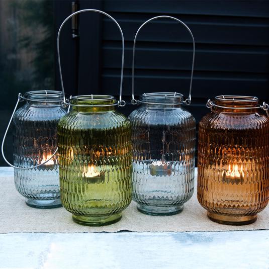 Glass Honeycomb Tea Light Holder