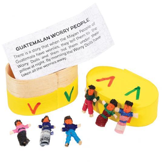 6 Guatemalan Worry Dolls In Box