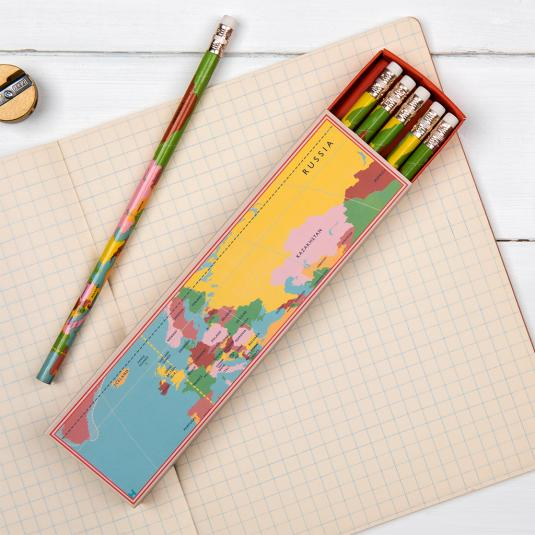 6 World Map Pencils In A Box