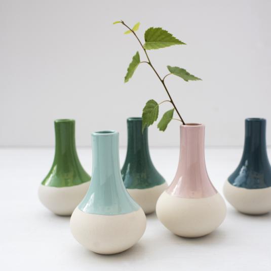 Small Aqua Marine Dipped Vases
