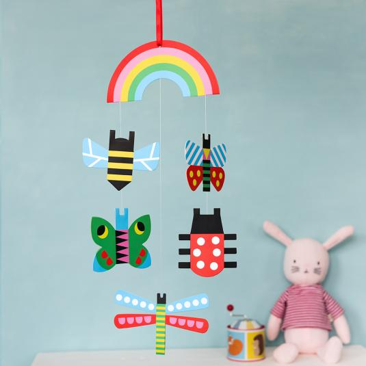 Cardboard colourful bugs baby mobile