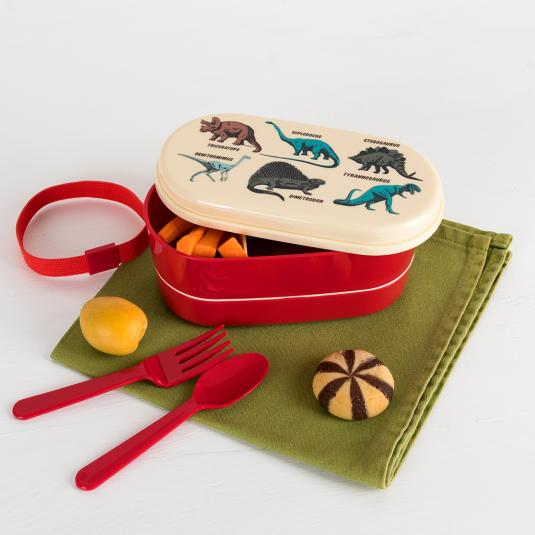 Dinosaur design dual compartment bento box with cutlery and strap