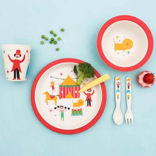 Children's set of bamboo tableware in big top circus design