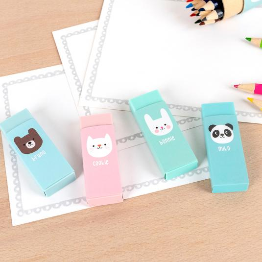 Set of four Miko and Friends rubbers
