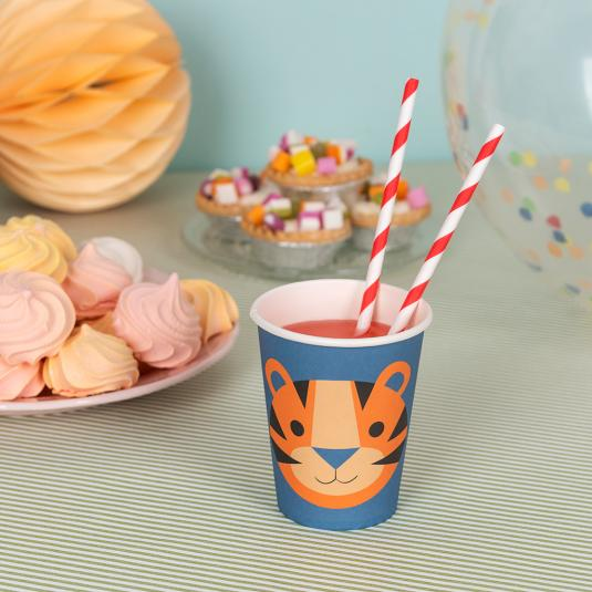 Pack of eight Ziggy the Tiger paper cups
