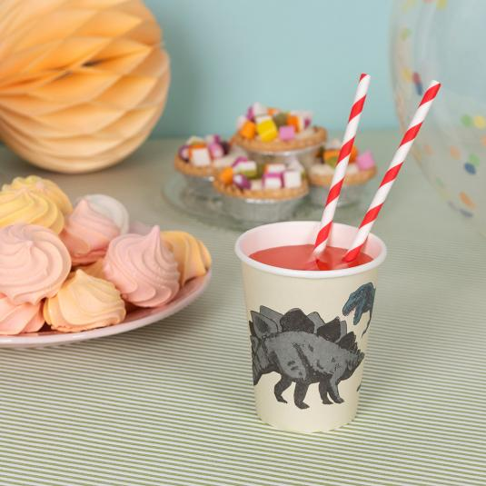 Pack of eight Prehistoric Land paper cups
