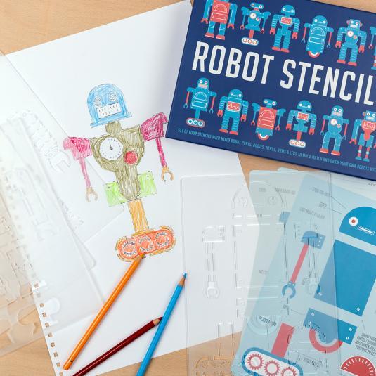 Set of four robot stencils
