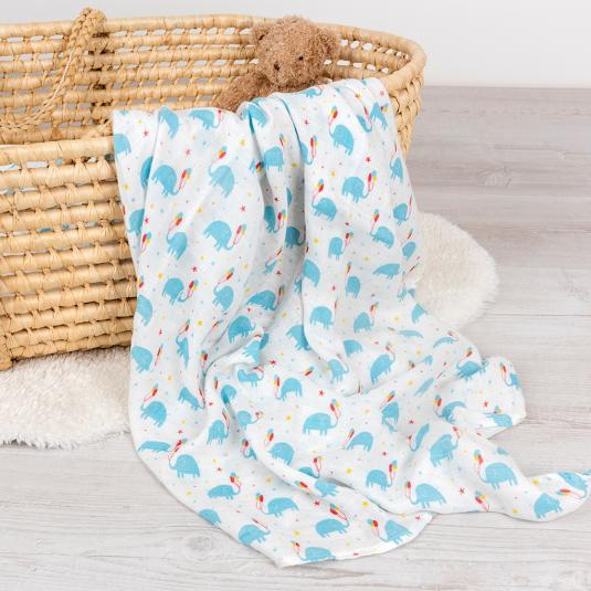 White swaddling blanket with little blue elephants holding balloons, in a basket.