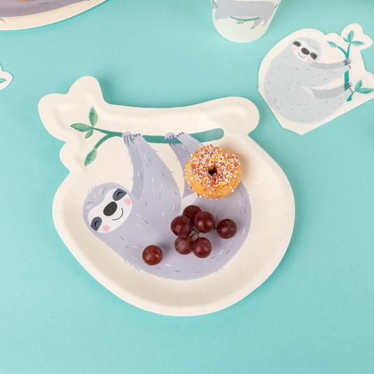 Paper plate in the shape of a grey, hanging sloth.