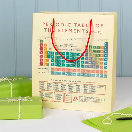 Large off-white gift bag with the periodic table of elements.