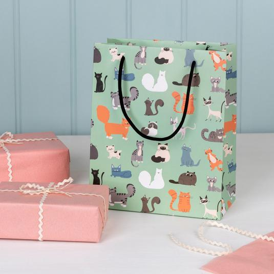 Small pale green gift bag with cartoon cat breed pattern.