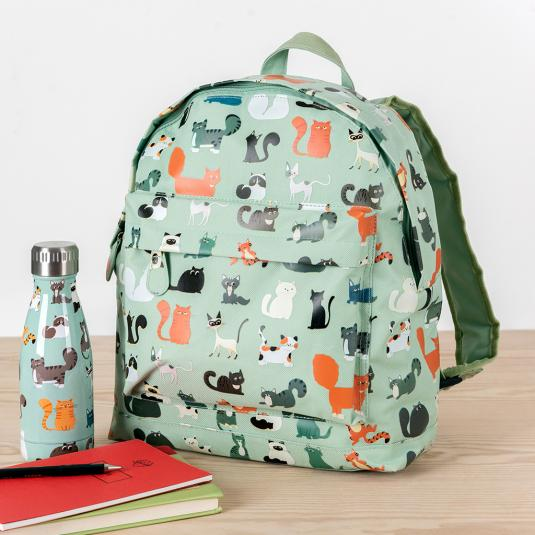 Green Children's Backpack cat print