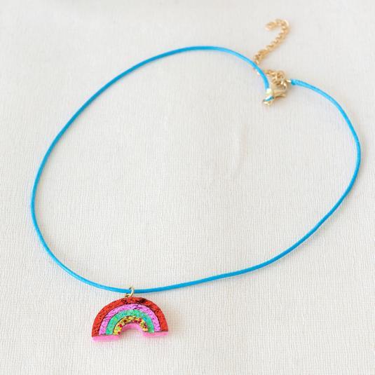 Rainbow Petite Circle Pendant Wire Woven Pendant