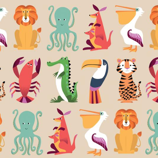 Sheets Of Colourful Creatures Gift Wrap