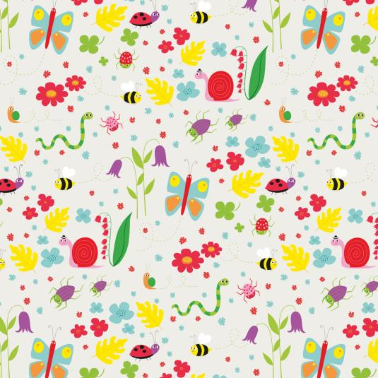 Butterflies Bees and Ladybird Wrapping Paper
