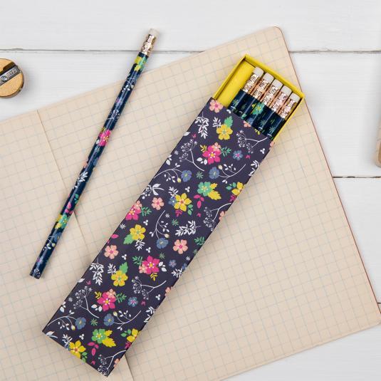 6 Ditsy Garden Pencils In A Box