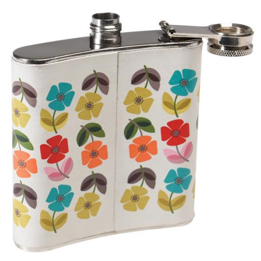Floral Print Stainless Steel Hip Flask