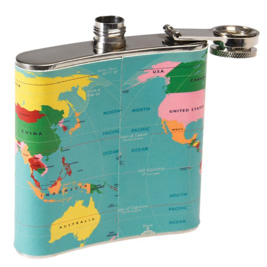 World Map Stainless Steel Hip Flask