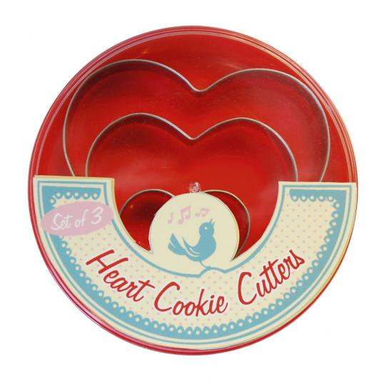 Set Of 3 Heart Cookie Cutters in a Red Plastic Box
