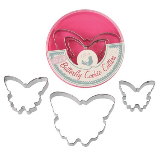 Set Of 3 Butterfly Cookie Cutters in a Box