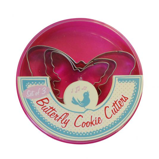 Set Of 3 Butterfly Cookie Cutters in a Pink Plastic Box
