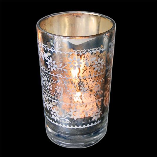Silver Glass T-light Holder