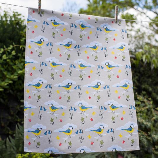 Blue Tit Design Tea Towel