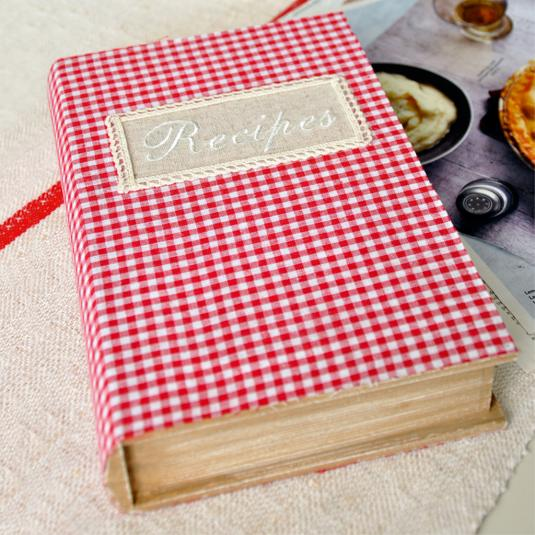 Checkered Cover Cookbook : Gingham recipe book storage box rex london at dotcomgiftshop