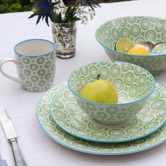 Green Circles Design Porcelain Tableware