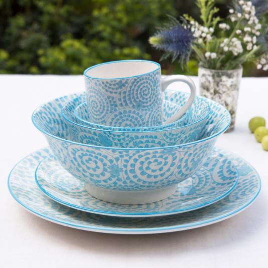 Japanese Style Crockery Set Blue Swirls