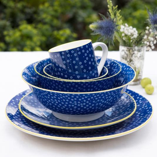 Petite Daisy Print Navy Blue Crockery Set