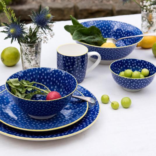 Navy Blue Floral Print Porcelain Tableware