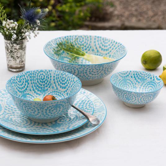 Porcelain Dinner Set Blue Swirls