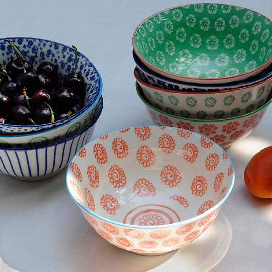Large Japanese Bowl Blue Daisy