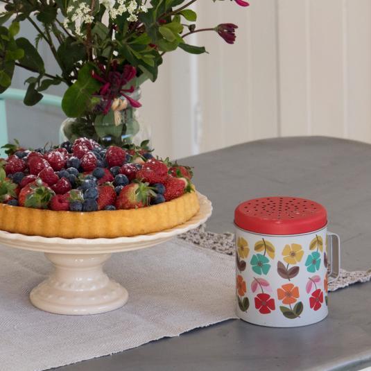 Retro Floral Print Flour Shaker