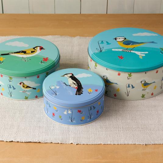 Goldfinch Woodpecker and Blue Tit Round Storage Tins