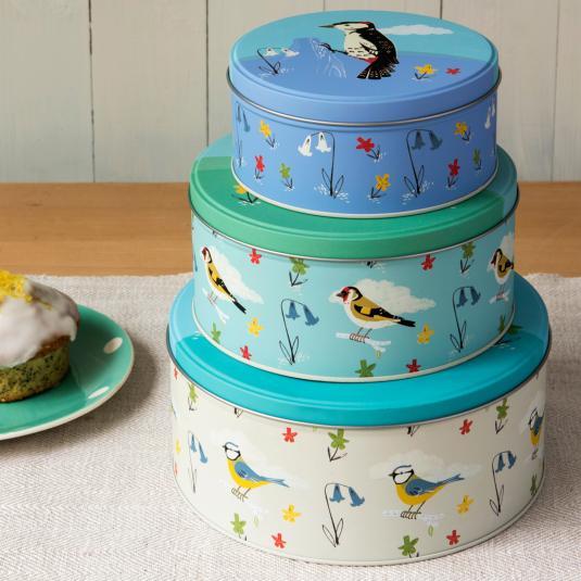 Set Of 3 Garden Birds Stacking Cake Tins