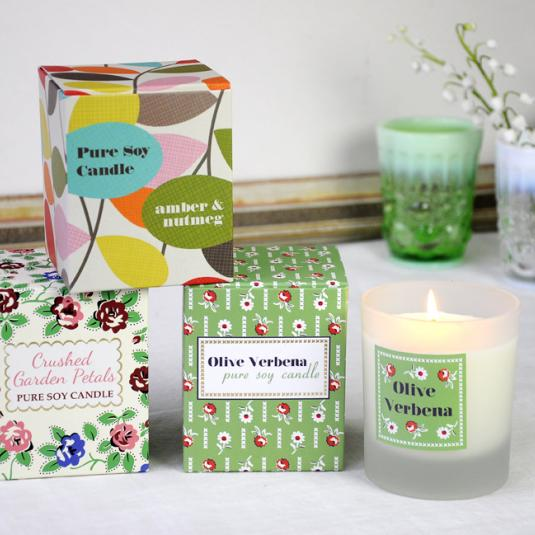 Soy Wax Scented Candle Olive Verbena