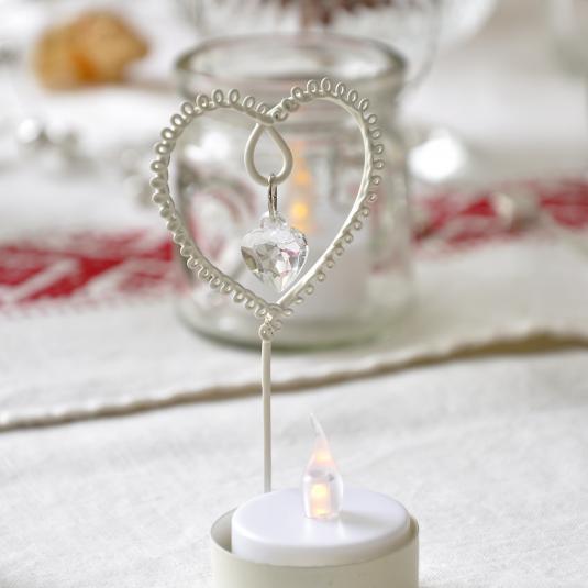 Jewelled Heart Tealight Holder