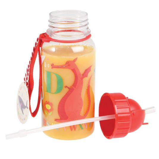 Childrens water bottle with straw and strap