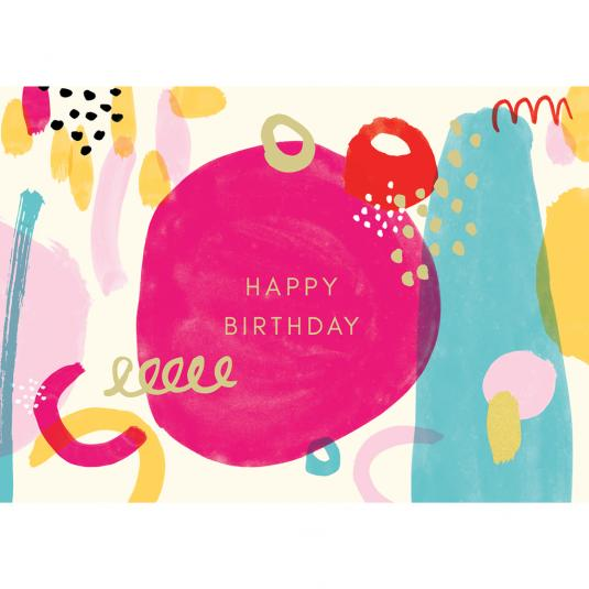 Abstract pink happy birthday card