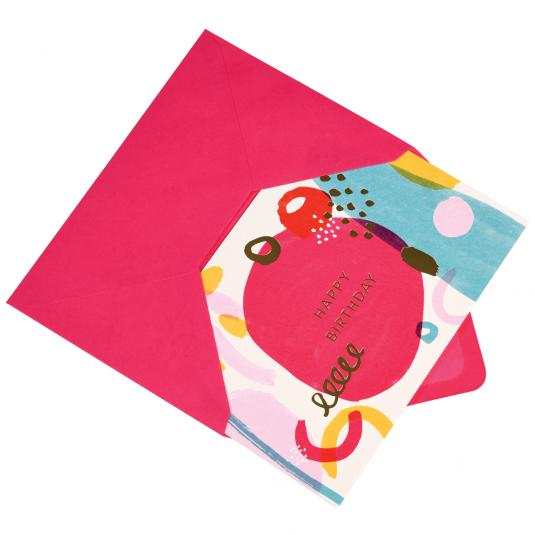 Abstract Blancmange happy birthday card with envelope