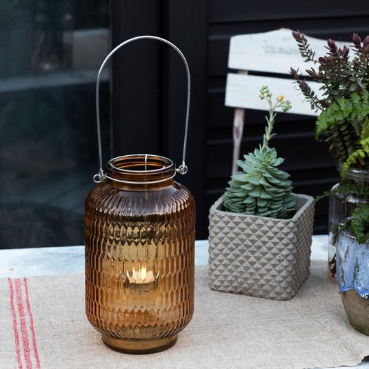 Amber Honeycomb Tealight Holder