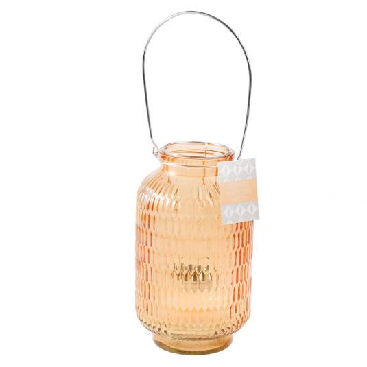 Giant Jar Tea Light Candle Holder - Orange