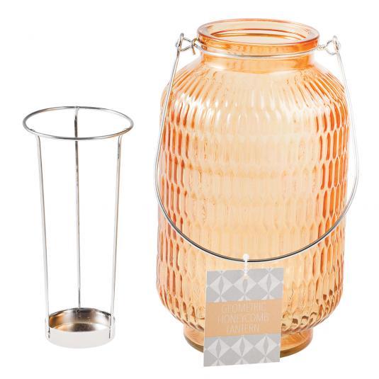 Giant Jar Tea Light Holder - Orange Glass